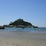 Marazion Gig Team out in the bay with the ferry boat heading over to the Mount
